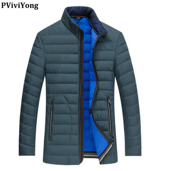 PViviYong 2019 Inverno de alta qualidade 90% brancos pato para baixo do casaco gola mandarim breves homens parágrafo Brasão plus-size M-6XL 1710 SH190930