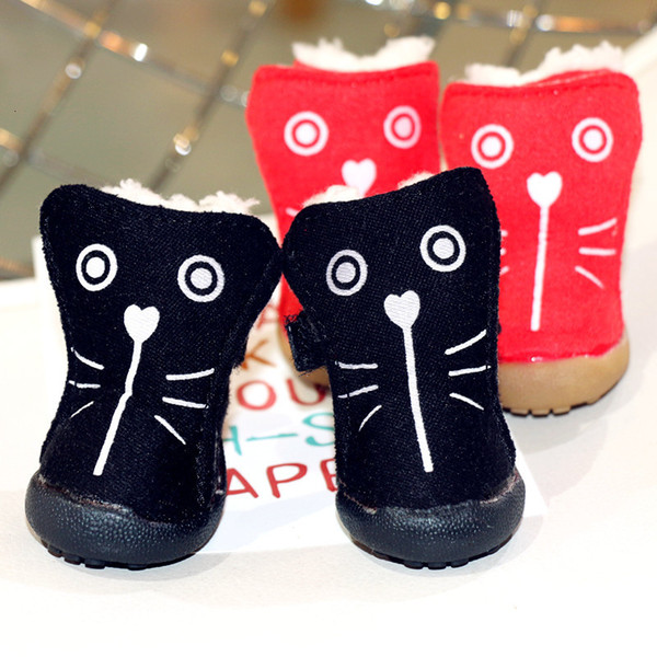 4 Pcs/set Fashion Dogs Winter Snow Boots Warm Puppy Shoes For Chihuahua Thick Anti Slip Pet Foot Accessories For Small Animals