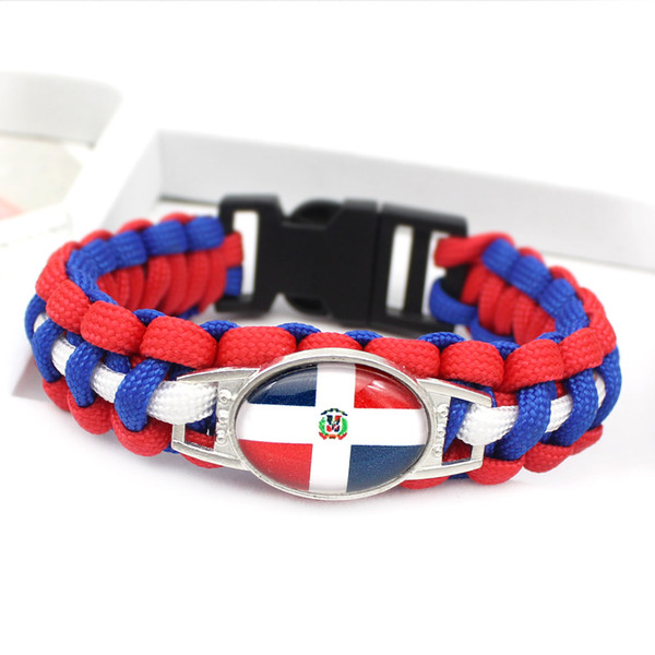 Fashion Women Men Jewelry Royal Blue White Red Braided Umbrella Rope Bracelet Glass Convex Ellipse Dominican National Flag Cool Bangles Gift