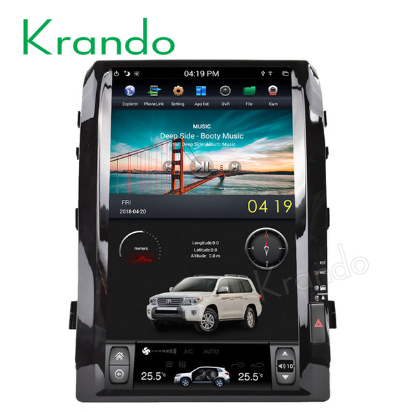 "Krando car android 8.1 16"" Tesla style Vertical screen car DVD play GPS navigation for Toyota Land Cruiser 200 2008-2015"