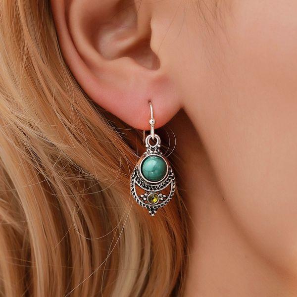 nueva moda europea y americana caliente ahueca hacia fuera el cristal gota de agua patrón de pendiente amor de la vendimia pendientes de piedras de color turquesa de la moda