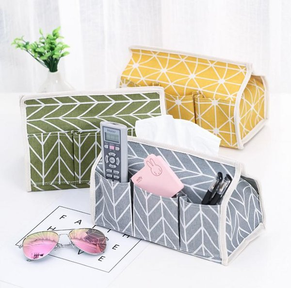 Free Shipping 6 Pockets Cotton Tissue Box Multifunctional Desktop Pumping Napkin Paper Holder Waterproof Paper Towle Case Storage Bag SN2804