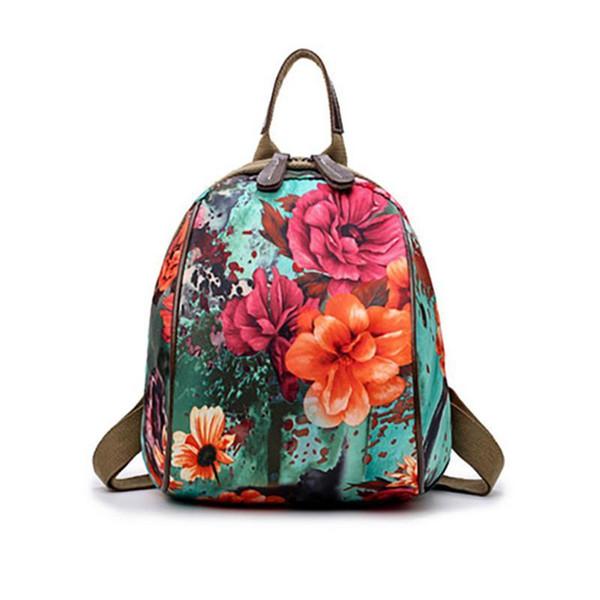 Coreano Moda Flor Impressão Nylon Mochila Para As Mulheres Adolescente Menina Sacos De Viagem Do Vintage Estudante Da Escola Mochilas Mochila Saco