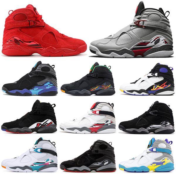 nike air jordan retro 8 8s Männer Basketballschuhe Valentinstag SOUTH BEACH Chrom 3PEAT PLAYOFF QUAI 54 Herren Trainer Sport Sneakers