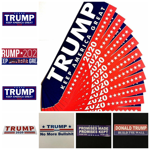 best selling Trump Car Stickers 13 Styles 76*23mm Keep Make America Great Again Donald Trump Stickers Bumper Sticker Novelty Items 10pcs set OOA6901