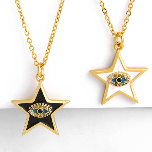 Sea theme high quality 18k gold plated colorful zircon stone necklace luxury eye design women necklace for gift