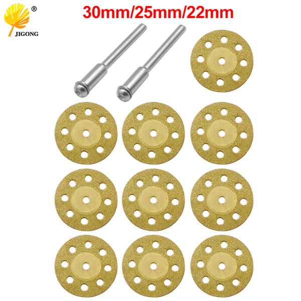 10pcs 22mm 25mm 30mm Mini diamant Lame de scie Lame d'or + Rod Grinding Drill Adaptateur de rotation