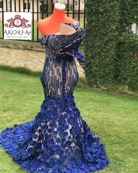 Arabe de luxe Royal Blue robes de soirée sirène sexy perlée robes de bal fait main fleurs Fête Pageant robes de soirée robe de soirée