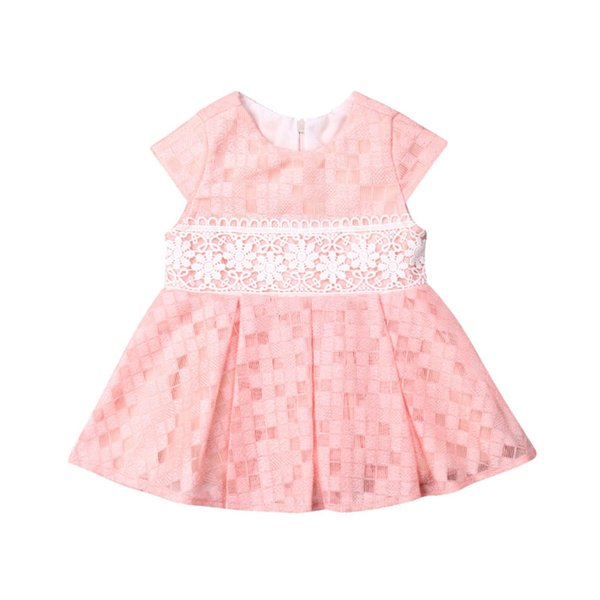 Детская одежда для девочек на шею без рукавов Геометрия Кружева с цветочным принтом Повседневная детская вечеринка с молнией из хлопка Платья по одной штуке
