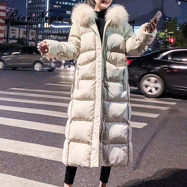 RICININA X-Long Jacket Women Hooded With Fur Collar Solid Casual Maxi Ovesized Coats Female Warm Winter Jackets Women Parka 2019