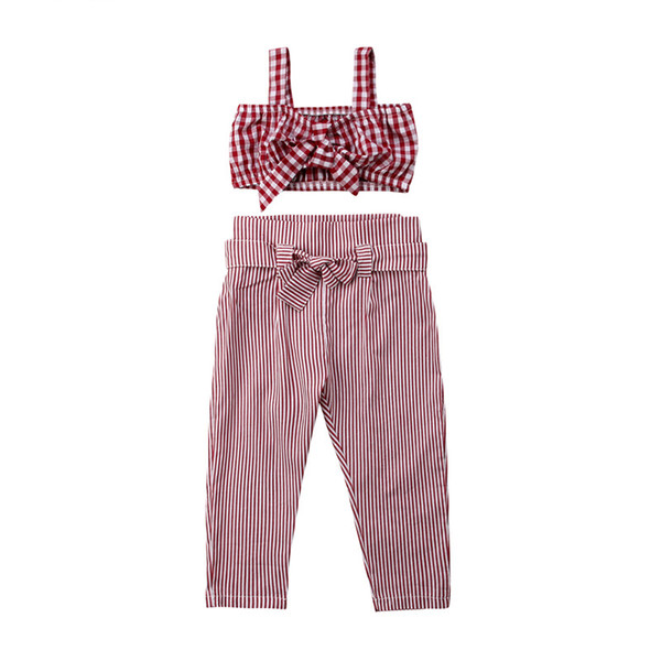 Sleeveless Princess Plaid Crop Top Vest Pants Plaid Bow Cotton Casual Outfits Girls Clothing 2-5T Kids Baby Girl Clothes Set