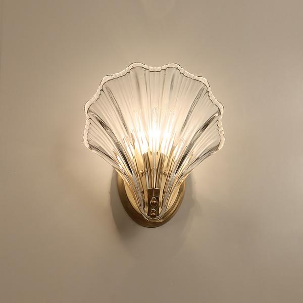 Nuevo 2019 Carcasa de cristal de lujo Lámpara de pared de oro de lujo Luces Bombillas Luz LED Dormitorio Sala de estar Accesorios de iluminación interior