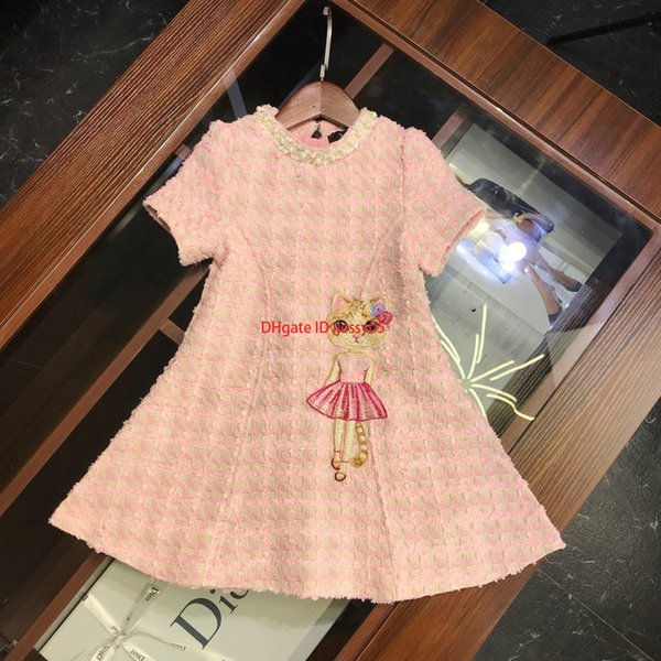Les filles s'habillent pour enfants vêtements de créateurs automne et hiver robes gilet tissé modèle de chat conception de nouvelles robes de mode mignon