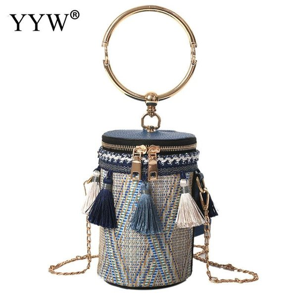Drum Shape Tassel Chain Circle Ring Handbag For Women 2018 Designer Fame Style Top Handle Hand Bucket Bags Bolsos Mujer New #320024