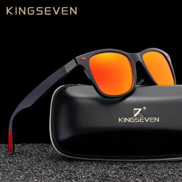 Orijinal Kingseven Marka Klasik Polarize Güneş Gözlüğü Erkek Kadın Sürüş Kare Çerçeve Güneş Gözlükleri Erkek Gözlüğü Uv400 Gafas De Sol MX190723