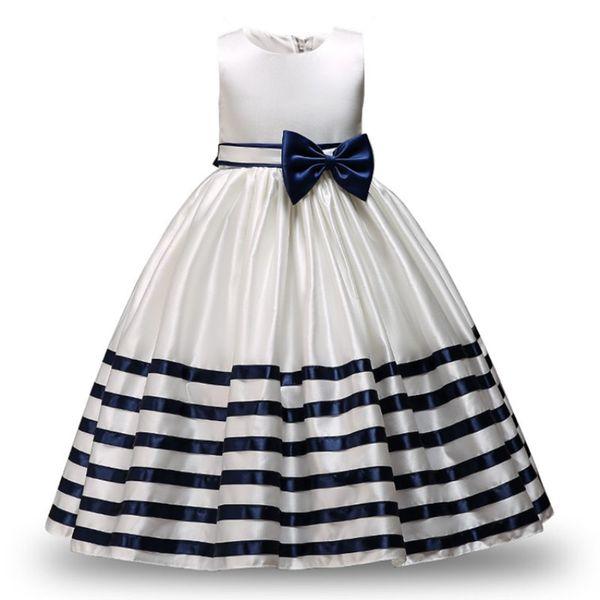 Kid Formal Vestidos Da Menina de Flor Listrado Projeto Bowknot Vestido de Baile Para O Casamento e Festa Traje das Crianças Adolescente Prom