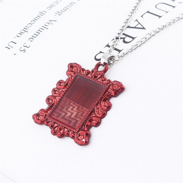 TV Series Twin Peaks Red Lodge Photo Frame Necklace Red Room Floor Button Necklace Owl Symbol 315 Room Keyring Enamel Necklace