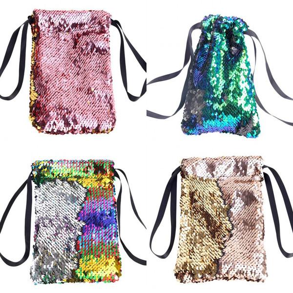 Fashion Creative Mermaid Paillettes Borsa con coulisse Arrampicata Escursionismo Fitness Shopping Pack Sacchetti regalo Paillettes colorate reversibili Zaino M490A