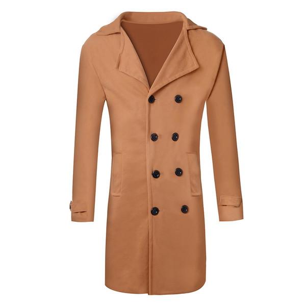 Shujin тренч пальто 2019 новая мода мужчины шерстяные смеси длинное пальто осень зима ветрозащитный тонкий тренч мужской плюс размер