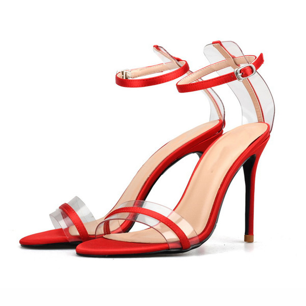 Fancy2019 Toe Concise One Word Bring Hasp High Real Silk Silks And Satins Glass Rubber Sexy Fine With Sandals