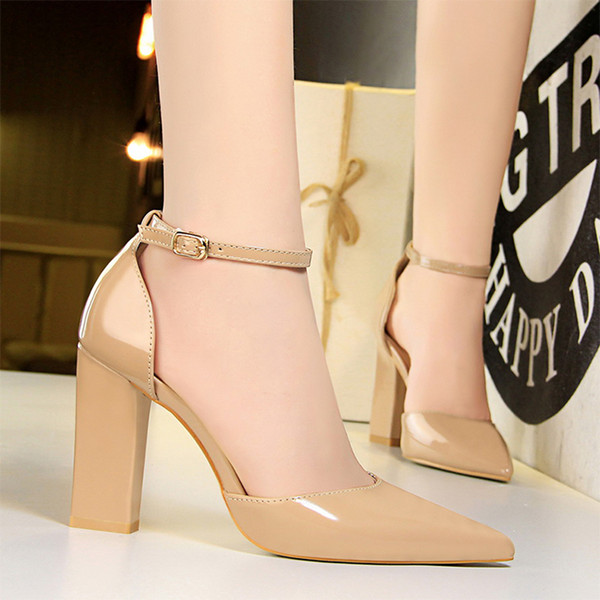 Hot Sale- woman heel mary jane shoes thick heels pointed toe high heels dress office shoes women high heels zapatos de mujer buty damskie