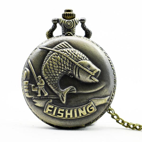 Cep Saatler Balıkçılık Balık Fob İzle Relogio Masculino Relogio De Bolso Man Woman Saat Hemşire İzle Doğum Günü Hediyeleri Için TD2033