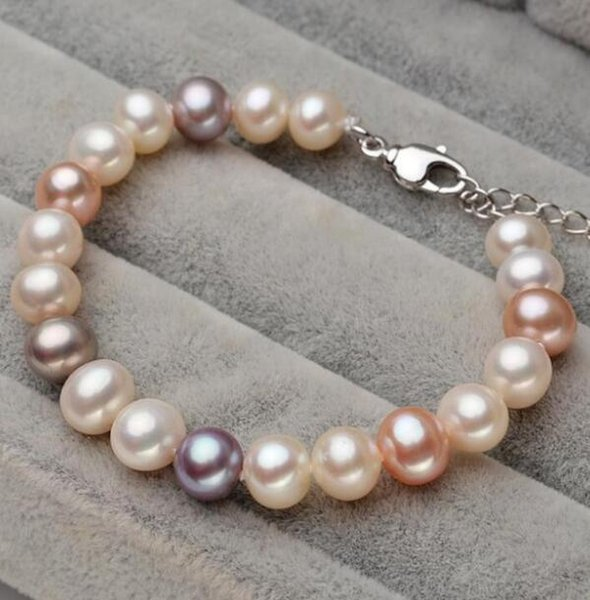 FREE SHIPPING ++ Natural freshwater pearl bracelet 7-7.5mm near round color mixinG