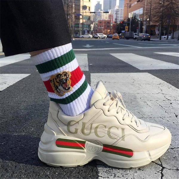 Sevimli Kaplan Nakış Çift Marka Çorap Moda Kişilik Severler Elastik Spor Çorap Doğum Günü Hediyeleri Erkek Kadın Rahat Çorap