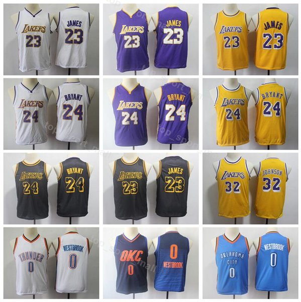 outlet store a13a0 0f1a7 2019 Youth LeBron James Lakers Basketball Jersey Kids 24 Kobe Bryant 32  Johnson Thunder 0 Russell Westbrook Children Jerseys City Edition From ...