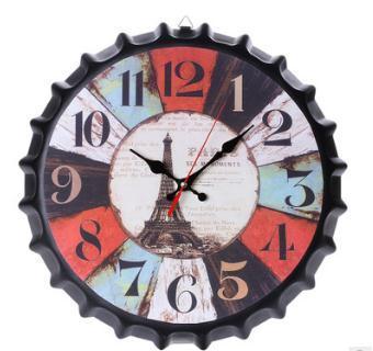 best selling New Metal Iron Retro Wall Clock Creative Vintage Wine Bottle Cap Silence Wall Clock European and American Trend Beer Bottle Cap Wall Clocks