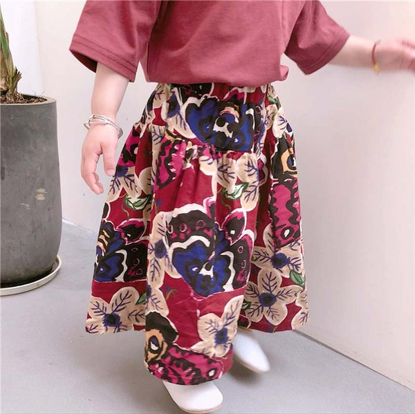 2019 Fashion large floral Children Trouser Girls Wide Leg Pants Cotton kids pantskirt baby pants Girls Clothes Korean Kids Clothing A1579