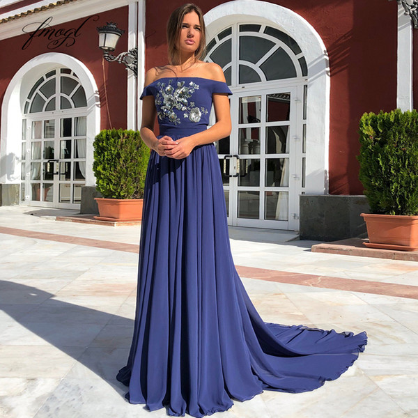 Fmogl 2019 A-line Dark Blue Prom Dress Chiffon Sequins Appliques Pattern Boat Neck Floor Length Customized Party Evening Dress