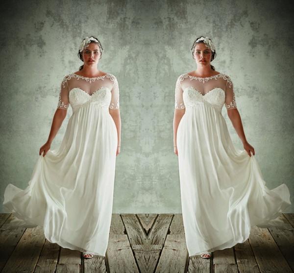 Além disso Vestidos de noiva Tamanho com meia mangas Jewel Sheer Neck A Linha Lace Appliqued vestidos de noiva Chiffon cintura império vestido de casamento