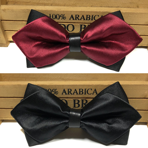 Men's bow tie pointed Korean version of the sharp corner bow dress wedding pu leather bow tie spot wholesale manufacturers custom