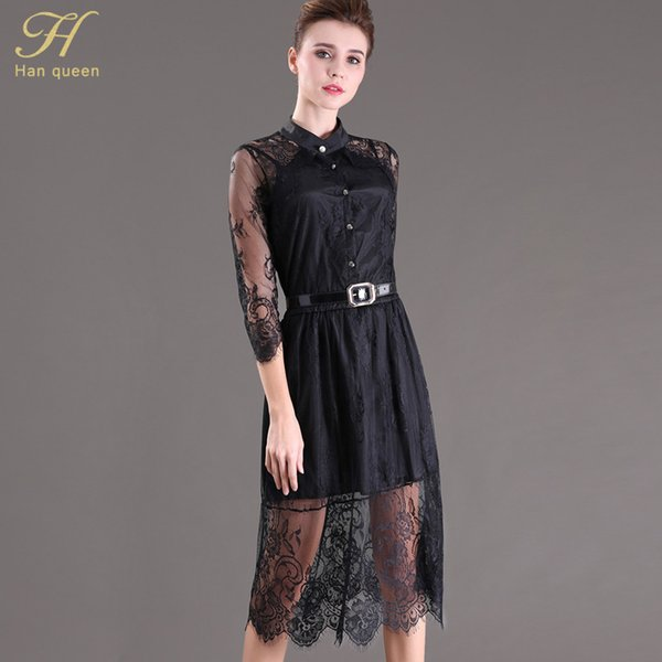 S-5xl Sale Summer Dresses Hollow Out Women Half Sleeve Elastic Waist Floral Crochet Casual Black Lace Dress Femininas Vestidos Y19051102