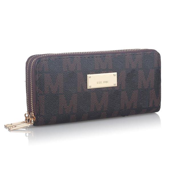 Women Luxury Long Wallet Brand Letter Coin Purse Ladies Double Zipper PU leather Designer Wallets Clutch Money bag Card Holder Pocket B61303