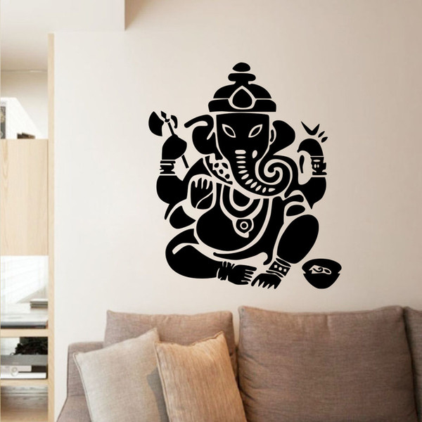 1 Pcs Ganesha Lord Wall Stickers Indian Elephant Modern Home Decor Removable Vinyl Wall Murals For Living Room Large Size Kids Room