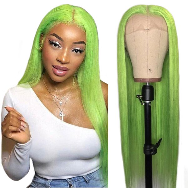 Hot Queen Green Straight Lace Front Human Hair Wigs For Black Women Pre Plucked Hairline With Baby Hair Brazilian Remy Hair Bleached Knots