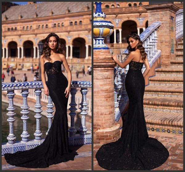 2019 New Elegant Black Mermaid Prom Dresses Sweetheart Lace Formal Evening Gowns Sweep Train Sleeveless Pageant Party Dress Plus Size