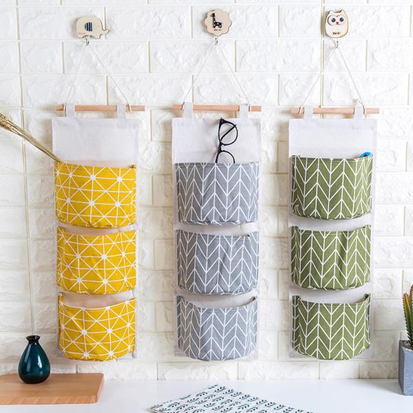Cotton Linen Hanging Storage Bag 3 Pockets Wall Mounted Wardrobe Hanging Bag Cosmetic Toys Organizer