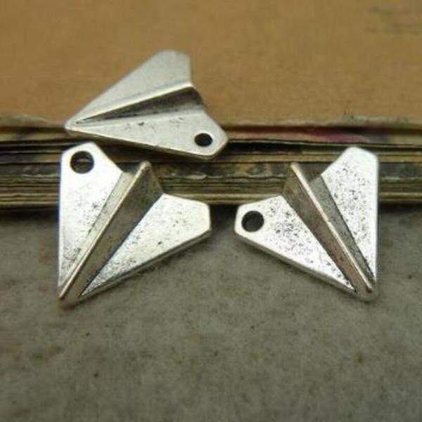 Charms en alliage pendentif avion en papier pour la fabrication de bijoux Bracelet collier boucles d'oreilles porte-clés accessoires en argent 10PCS 17x19mm