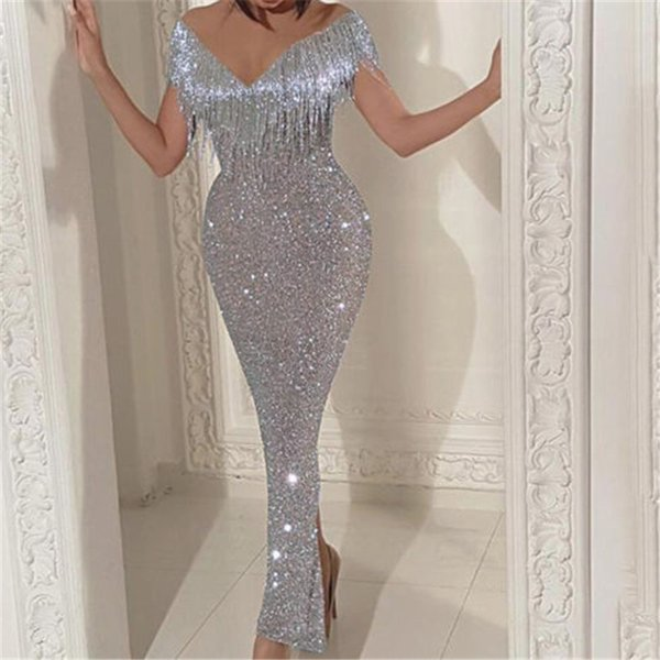 2019 New Style Fashion Hot Women Sexy Deep-V Dress Off Shoulder Long Sleeve Tassel Mermaid Solid Attire Sheath Dress