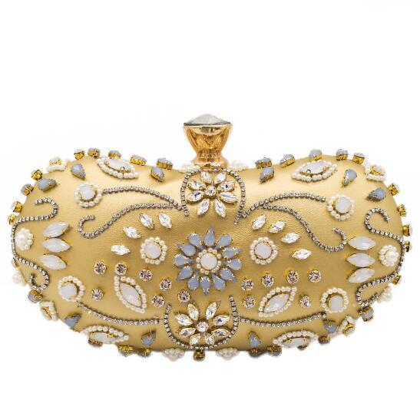 Hand Made Patchwork Beaded & Crystals Women Satin Evening Clutch Bag Wedding Dress Beading Handbag Purse MIL1122