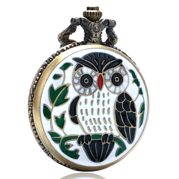 New Fashion Lovely Leaves Owl Quartz Analog Pocket Watch with White Fine Chain Necklace Pendant Men Women Creative Gift Reloj De Bolsillo
