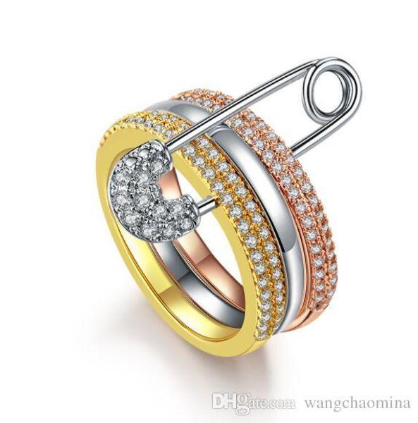 Bague de mariage ensembles de bagues de créateurs en or blanc Or rose Cristal Pierre précieuse zircone cubique Bijoux Fantaisie Fille Taille Cadeau # 6 # 7 # 8 # 9