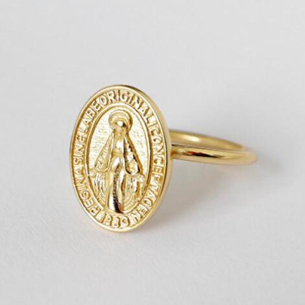 3PCS 새로운 패션 골드 성모 마리아 라운드 메달 반지 개방 검지 손가락 반지 여성 실버 보석 선물