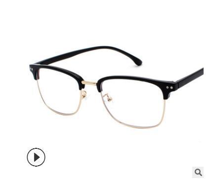 2019 New Half-Frame Brillengestell Art Man Retro Board Großformat Eyes Frame Männlich Rundgesicht Persönlichkeit Myopie Brille Tide 1522