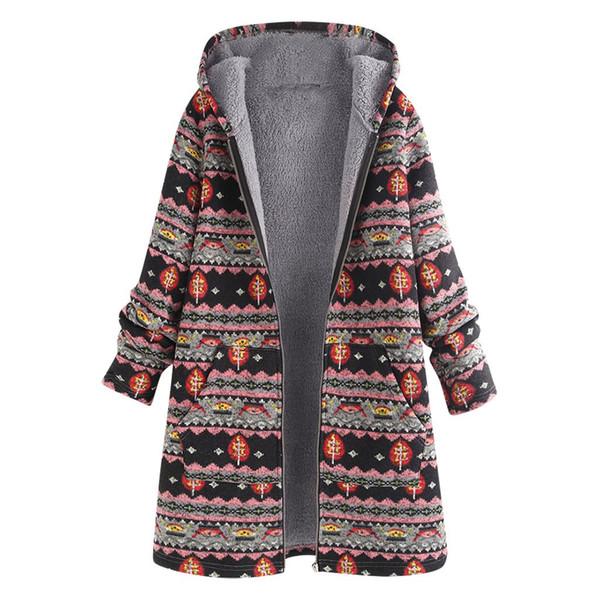 Acheter Vêtements Manteau Femmes Hiver Chaud Outwear Capuche Imprimé Floral Poches Vintage Oversize Manteaux Veste Manteau Femme Taille Plus De $23.08