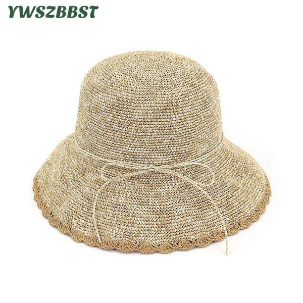 Summer Women Sun Hats Fashion Wavy Brim Female Basin Hat Women Fisherman Hat Anti-UV Holiday Bucket Cap Seaside Beach Cap
