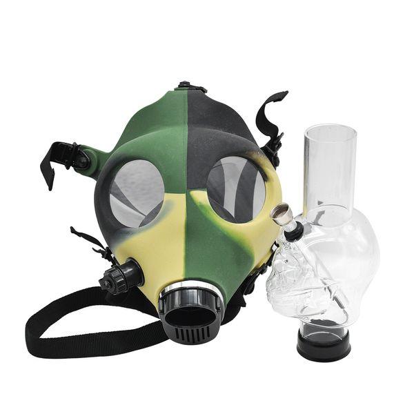 Gas Mask Bongs Colorful Silicone Water Bong Shisha Acrylic Smoking Pipe Sillicone Mask Hookah Tobacco Tubes Wholesale